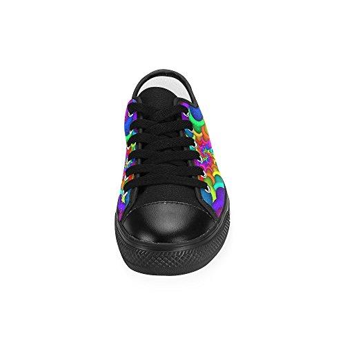 ... Artsadd Psykedelisk Rainbow Spiral Tilpasset Lerret Sko For Kvinner  Model018 (2015 Ny Ankomst)