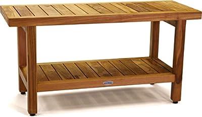 """AquaTeak The Original 36"""" Spa Teak Shower Bench with Shelf"""