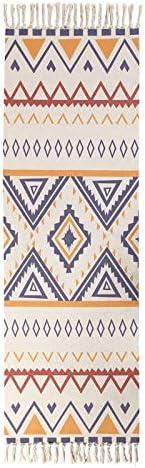 Autohigh Tufted Cotton Runner Area Rug Welcome Door Mat Machine Washable Indoor Floor Rug with Tassel 2 x 4.3 ft