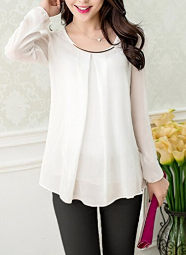 Corea mujeres de moda de manga larga de gasa delgada cuello redondo camisa superior blusa S-XXXL White
