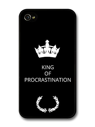 New Funny King of Procrastination Gift Idea on Black Design coque pour iPhone 4 4S