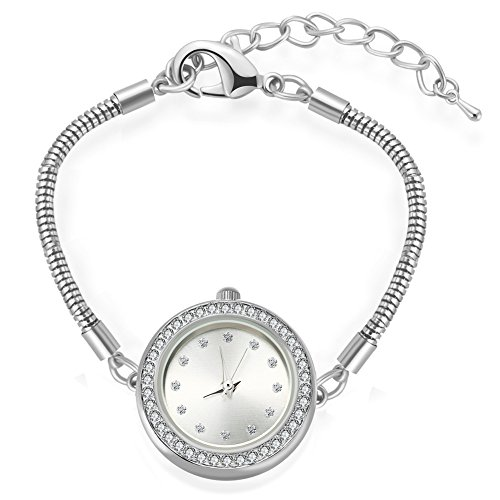 Charm Silver Chain Ladies Watch (MANBARA Women's Silver Tone Watches with Adjustable Copper Chain)