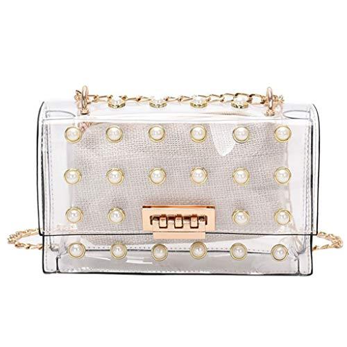NAYI Bag Women Girl Pearl Crossbody Bag Leather Cute Waterproof Candy Color Messenger Bag Chain Phone Bag White