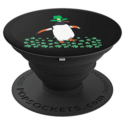 Penguin Leprechaun Clover Funny St. Patricks Day Gift - PopSockets Grip and Stand for Phones and ()