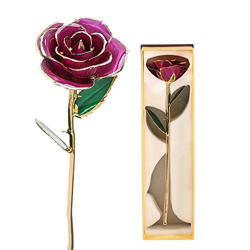 24K Gold Dipped Rose Long Stem Charm Flower Valentine Red - 3