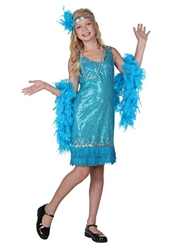 Halloween Flapper Girl Costumes (Big Girls' Turquoise Sequin And Fringe Flapper Costume - L)