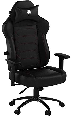 KILLABEE Gaming Chair Racing Office Chair - Adjustable Built-in Lumbar Support and Back Angle Ergonomic High-Back Leather Computer Desk Executive Swivel Chair with Wide Flat Seat and Metal Base