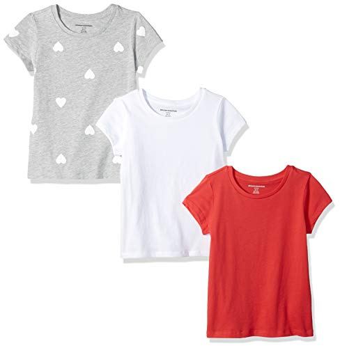 (Amazon Essentials   Girls' 3-Pack Short-Sleeve Tee, Heart/Pink/White M (8))