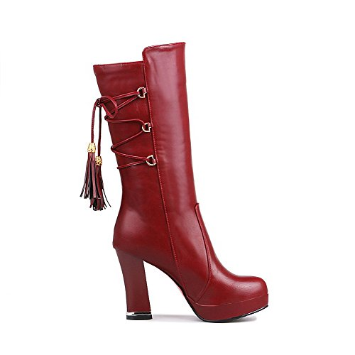 Closed Toe Red top Women's Round Material Heels High Boots on Soft Mid Allhqfashion Pull qOZvPP