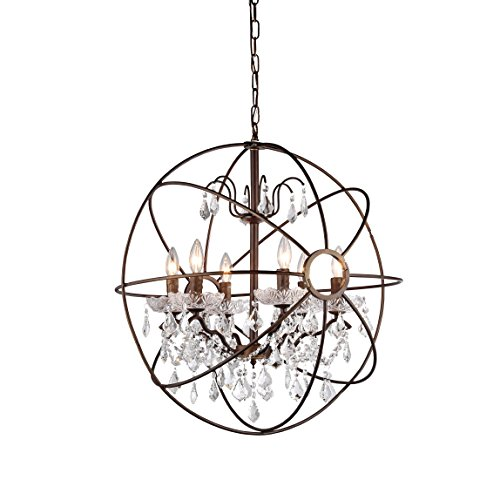 Whse of Tiffany RL8049 Edwards Antique Bronze and Crystal Chandelier (Bronze Chandelier With Crystals)