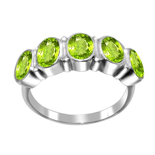 - Sterling Silver with Natural Peridot Five Stone Ring