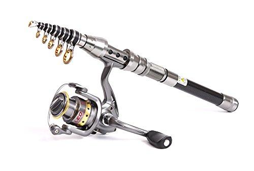 伸縮釣りポール、軽量カーボンファイバー釣りロッド海水旅行スピンロッドLeo B01MDPFU5D   2.1m