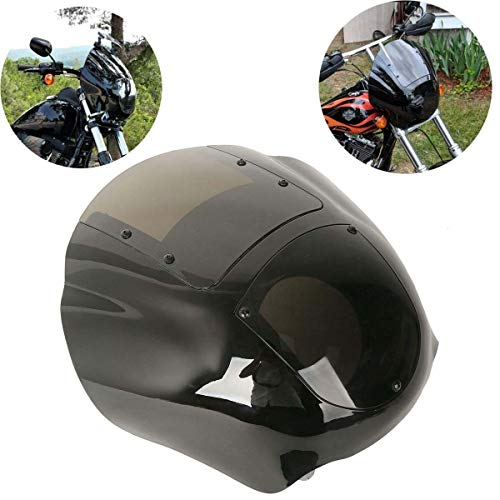 XFMT Detachable Quarter Fairing Kit & Smoke Windshield Compatible with Harley Sportster 1988-2016 Dyna 1995-2005(Requires the installation of Docking Hardware Kit P/N 58164-96A.)
