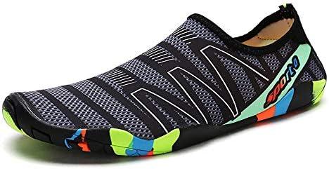 HYH グレー+ブラック+ホワイトストライプダイビングシューズスノーケリングシューズスピード干渉水上流の靴アウトドアビーチシューズ男性と女性のスイミングシューズマルチサイズ いい人生 (色 : Gray, Size : US7)