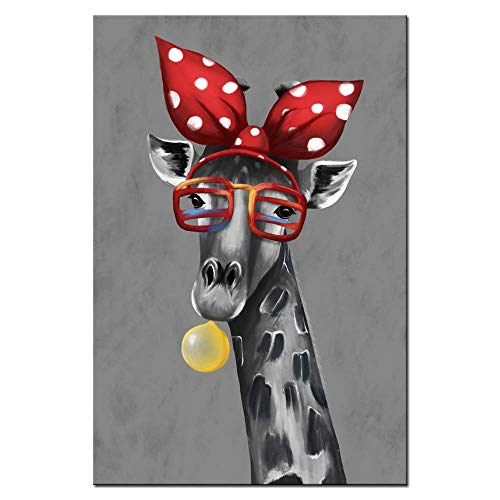 sechars - Modern Animal Art Funny Giraffe Bubble Gum Art Painting Abstract Canvas Art Stretched Frame Artwork for Wall Decor Kids Room Decor ()
