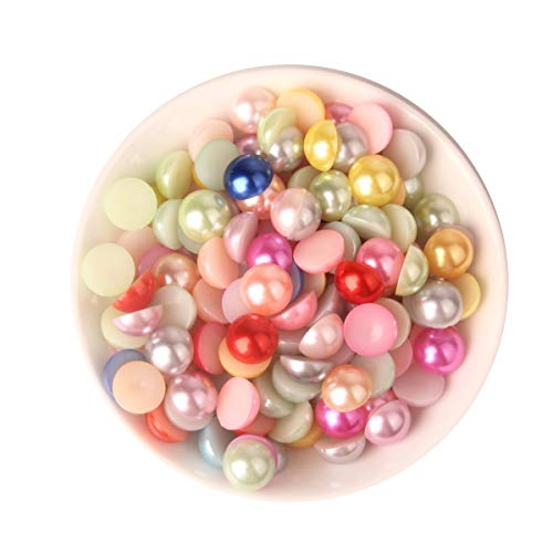 - Meicry Beads 12mm 200 Pcs ABS Acrylic Round Flat Back Imitation Pearl Cabochon 9 Colors Nail Craft DIY Decoration