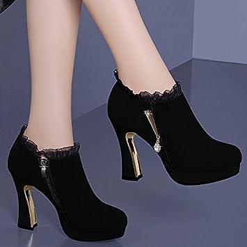 KHSKX-Zapatos De Cuero Zapatos De Primavera Invierno Cachemira Impermeable  Zapatos De Tacones Altos De La Plataforma De 10 Cm Grueso Tacon Botas  Cortas Solo ... 9a9833718ced