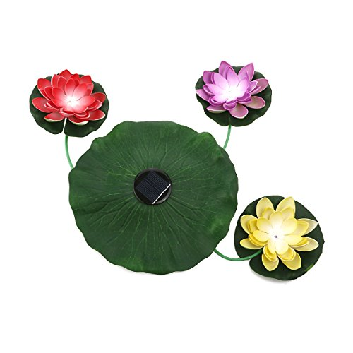 VORCOOL Solar-Powered Floating LED Lotus Light Lamp Nightlight for Garden Lawn Pond Pool Remote Control Floating Lantern