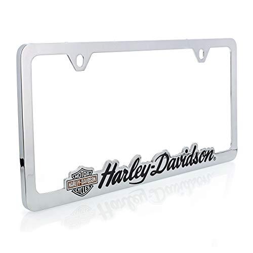 Cut Out Harley-Davidson License Plate Frame Holder With Color Bar & Shield