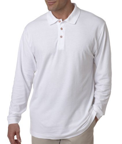 8542 UltraClub® Adult Long-Sleeve Whisper Piqué Polo - White - XXXXXX-Large