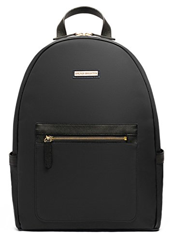 "[Archer Brighton Cara Laptop Backpack, Women's 13"" Business Travel Leather Canvas Multipurpose Backpack (Black)] (Brighton Style Tote)"