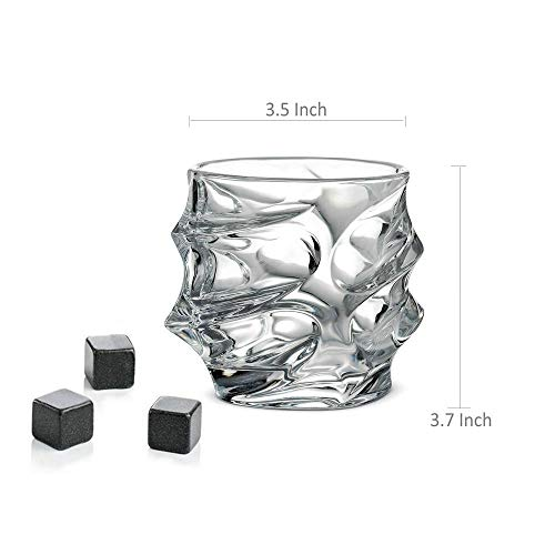 Whiskey Glasses Set of 4 Rocks Style,TOPLANET Crystal Lead Free Old Fashioned Glasses Tumbler with 4 Coaster, Whiskey Cup Set Drink for Gift Bar Party Whiskey Bourbon Scotch Vodka- 11 OZ Capacity by TOPLANET (Image #6)