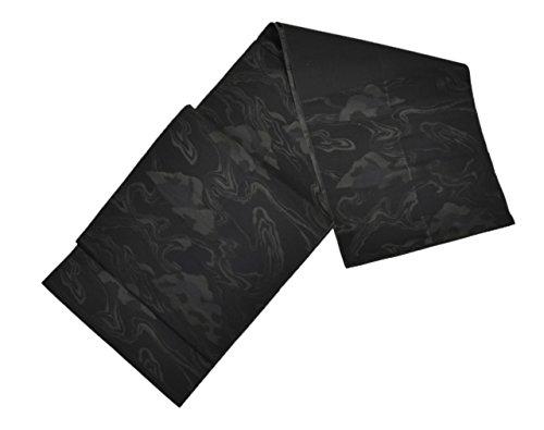 わずかななしで調べる着物ひととき 名古屋帯リサイクル 正絹 八寸 なごやおび 喪服用 黒 波文様 hh1361 [中古]