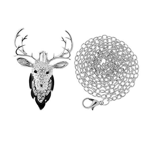 Christmas Xmas Tree Bell Elk Snowmen Crystal Brooch Pin Fashion Women Jewelry | StyleID - #43_Silver Deer Head