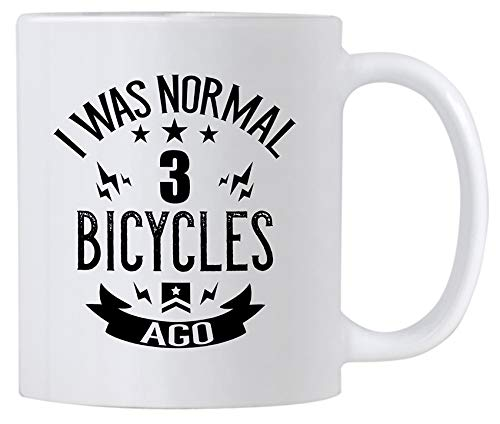 Casitika Funny Cycling Gifts. 11 oz Ceramic Bicycle Lovers Novelty Coffee Mug. Bike Mugs For Triathlon Enthusiast. I Was Normal 3 BiCycles ()