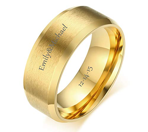 Gold Plated Brass Ring (VNOX Free Engraving Personalized Custom 8MM Gold Plated Stainless Steel Plain Band Ring for Men,Size 7)