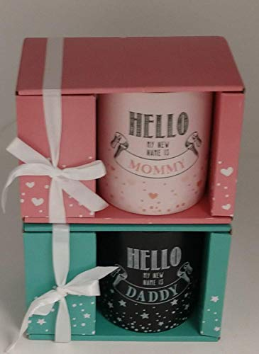 12-Ounce New Mother Mug -Hello My New Name is Mommy - Pink Ceramic and Hello My New Name is Daddy - Black and Teal Ceramic with Gift Boxes.