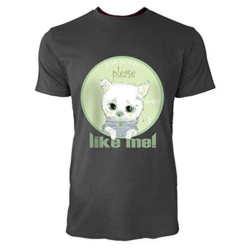 SINUS ART® Süßer Spitz Welpe I`m So Cute Like Me! Herren T-Shirts in Smoke Fun Shirt mit tollen Aufdruck
