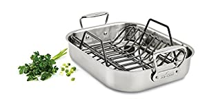 All-Clad E752S264 Stainless Steel Dishwasher Safe Small Roater with Rack Cookware, Silver
