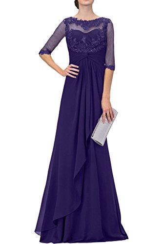 Regency Langarm Abendkleider Brautmutterkleider Braut mia Blau Ballkleider La mit Langes Spitze Navy mit PR7OxfS