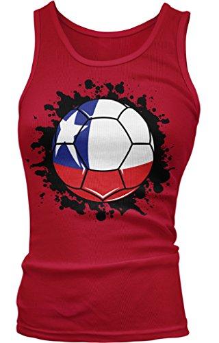 Amdesco Chile Soccer Ball, Chilean Flag, Team Chile Juniors Tank Top, Red Medium ()