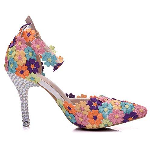 Minishion Kvinna Färgglada Blommor Ankelrem Bröllop Aftonskor Multi-9 Cm Klack