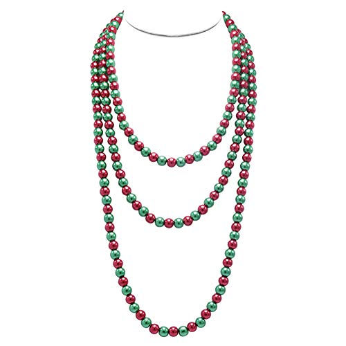 T-Doreen Christmas Long Pearl Necklace for Women Girls 69 Inch Layered Strands Necklace Red Green (Engagement White Necklace)