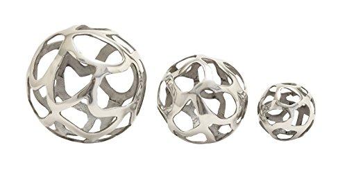 Deco 79 Aluminium Ball Decor, Silver, 8 by 6 by ()