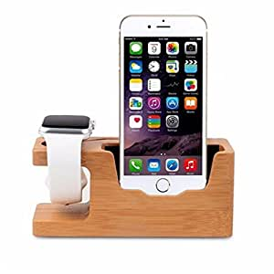 (UPDATED VERSION) Apple Watch Stand Lbsel Bamboo Wooden Charging Bracket Dock Station Cradle Holder Stand Mount Charger for Apple iWatch Series 1 2 3 38mm 42mm & iPhone 5 6 6s 7 8 X Plus & Smartphones