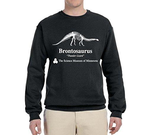 Wild Bobby Brontosaurus Science Museum of Minnesota  Strange Fan   Mens Pop Culture Crewneck Graphic Sweatshirt, Black, Large