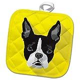 3dRose zuluspice - Animals - Portrait of a Boston Terrier Dog - 8x8 Potholder (PHL_292068_1)