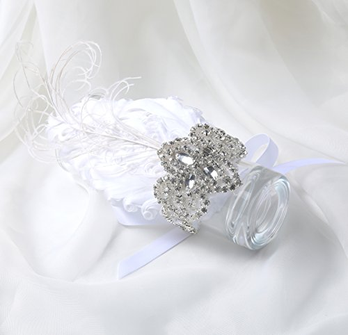 BABEYOND 1920s Wedding Wrist Corsage Gatsby Peacock Feather Bridal Wristband Corsage Roaring 20s Flapper Wedding Costume Accessories (White by BABEYOND (Image #2)