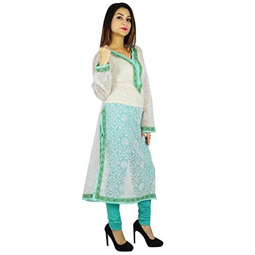 India étnicas Diseñador Kurti algodón Chikan regalo de las mujeres vestido de la túnica casual para su bordado Off Blanco y verde-2