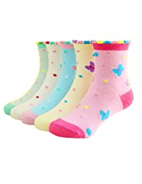 Little Girls Socks Cotton Butterfly Comfort Thick Socks 5 Pair Pack