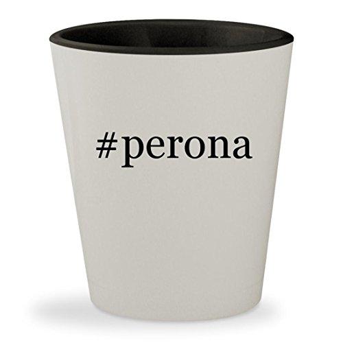 #perona - Hashtag White Outer & Black Inner Ceramic 1.5oz Shot Glass
