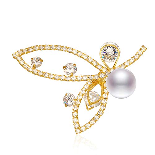 Epinki Jewelry Platinum Plated Brooches for Women Butterfly Pearl Cubic Zirconia Inlay C Brooches