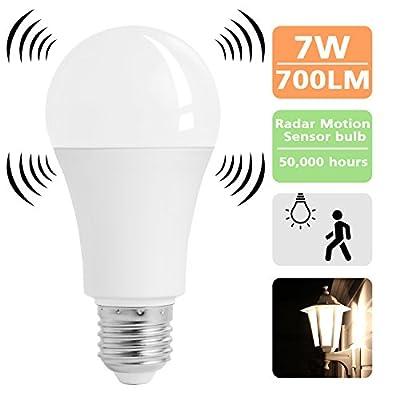 Stripsun Motion Sensor Light Bulb, 7W Smart LED Bulb, Auto On/Off Radar Sensor LED Light Bulb, Smart Dusk to Dawn Sensor Night Light For E26/E27 Base Indoor/Outdoor (6000K Bright White)