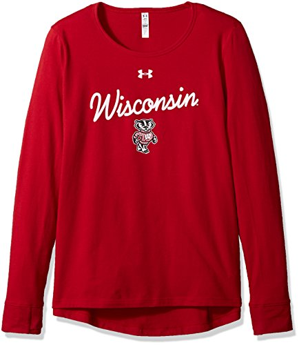 (Under Armour NCAA Wisconsin Badgers Womens NCAA Women's Long Sleeve Charged Cotton Tee, Large, Flawless)
