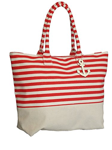 Red Large Zipper Top Stripe Canvas Look Beach Bag Tote - 22
