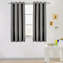 SUO AI TEXTILE Window Treatment Thermal Insulated Solid Blackout Grommet Curtains 52x63 Inches (2 Panels, Grey )